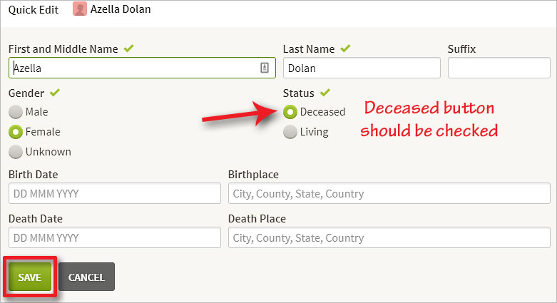 Do a Quick Edit to change an ancestor's status