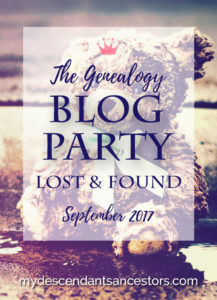 Pinnable Image for the September Genealogy Blog Party: Lost & Found