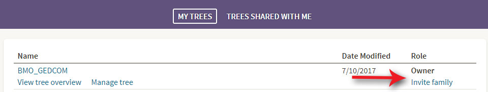 Click Invite Family to invite yourself to your tree