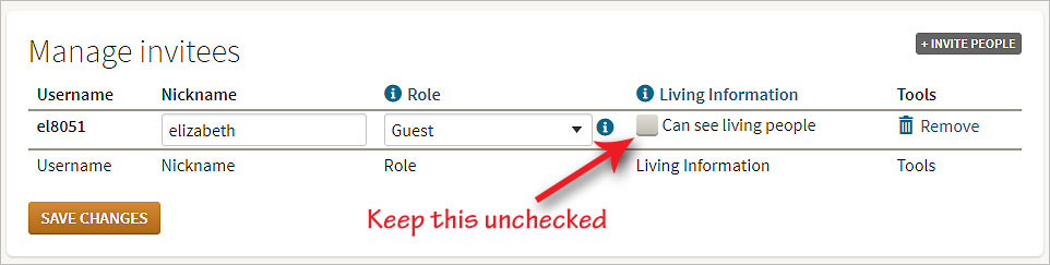 Uncheck the box so you will not see living people