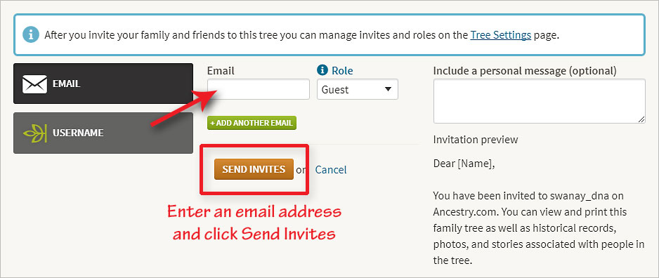 Enter your alternate email to invite yourself as a guest to your tree