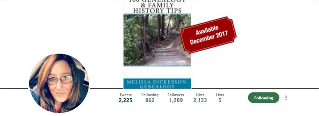 "Melissa ""Genealogy Girl Talks"" Twitter"